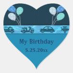 Muchacho total del cumpleaños en ahorrador azul de calcomanía de corazón personalizadas