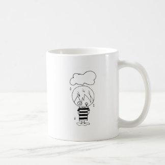 Muchacho triste taza de café