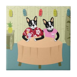 Muchacho y chica de Boston Terrier Azulejo Cuadrado Pequeño