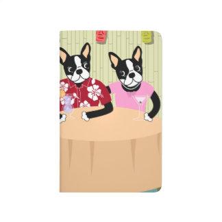 Muchacho y chica de Boston Terrier Cuadernos Grapados