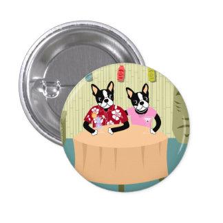 Muchacho y chica de Boston Terrier Pin Redondo De 1 Pulgada