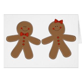 Muchacho y chica del pan de jengibre tarjeta de felicitación