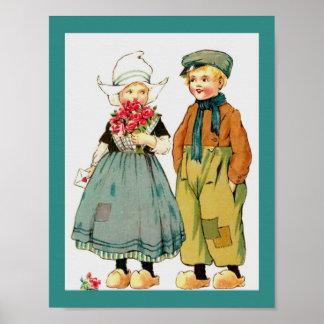 Muchacho y chica holandeses lindos del vintage con póster