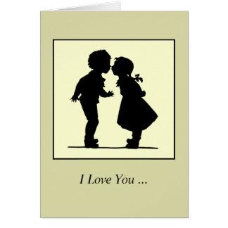 Muchacho y chica románticos de los pares de la tarjeta de felicitación