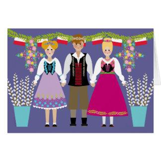 Muchacho y chicas del arte popular del polaco del tarjeta de felicitación
