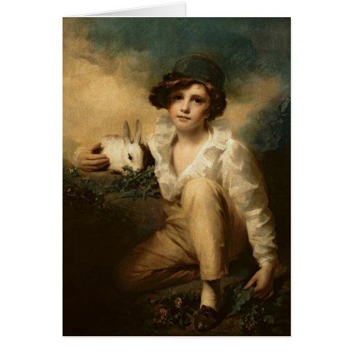 Muchacho y conejo, c.1814 tarjetón