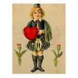 Muchacho y corazón escoceses del día de San Valent Postales