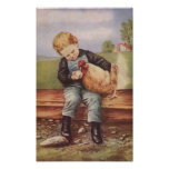 Muchacho y el suyo del vintage pollo del mascota poster