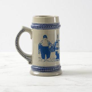 Muchacho y gato azules, holandeses, azul de Delft, Taza