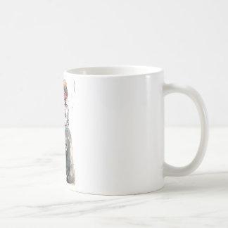 Muchacho y jaula de la acuarela del vintage taza clásica