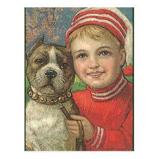 muchacho y perro de la postal del vintage