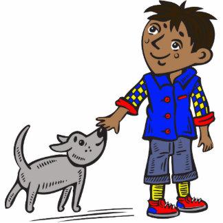 Muchacho y su perro escultura fotográfica