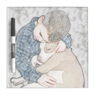 Muchacho y su perro pizarras blancas de calidad