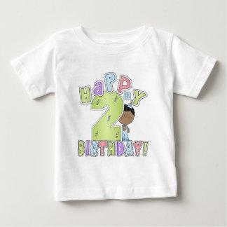 Muchachos 2do cumpleaños feliz, afroamericano playera de bebé