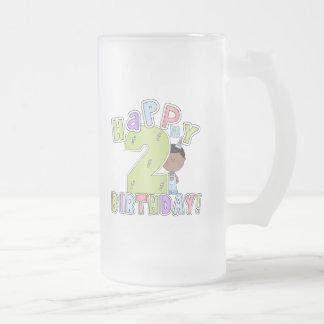 Muchachos 2do cumpleaños feliz, afroamericano taza de cristal