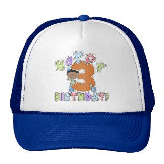 Muchachos 3ro cumpleaños feliz, afroamericano gorros bordados