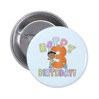 Muchachos 3ro cumpleaños feliz, afroamericano pins