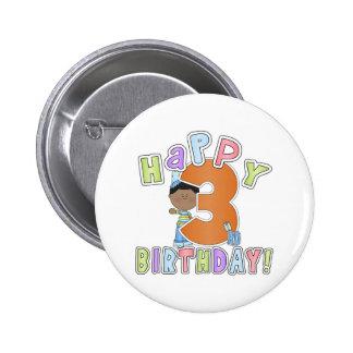 Muchachos 3ro cumpleaños feliz, afroamericano pin