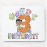 Muchachos 3ro cumpleaños feliz, afroamericano alfombrilla de ratones