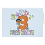 Muchachos 3ro cumpleaños feliz, afroamericano felicitación