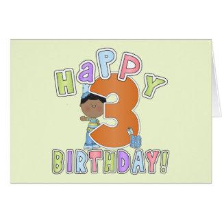 Muchachos 3ro cumpleaños feliz afroamericano tarjeton