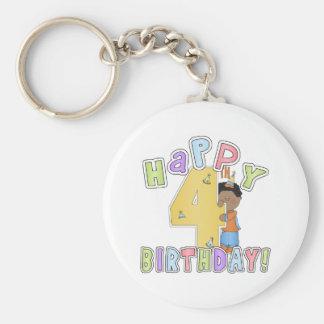 Muchachos 4to cumpleaños feliz, afroamericano llavero redondo tipo pin