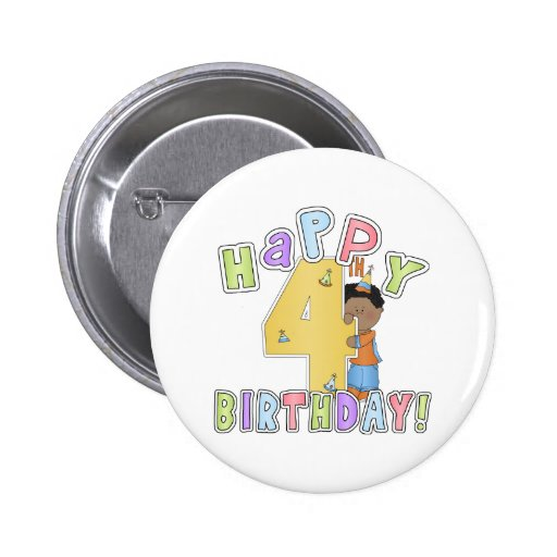 Muchachos 4to cumpleaños feliz, afroamericano pin