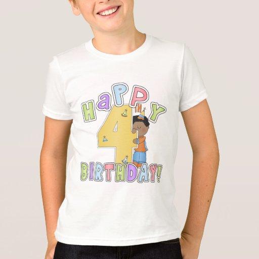 Muchachos 4to cumpleaños feliz, afroamericano playera