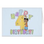 Muchachos 4to cumpleaños feliz, afroamericano tarjeta de felicitación