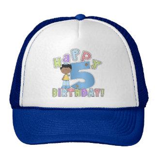 Muchachos 5to cumpleaños feliz, afroamericano gorros