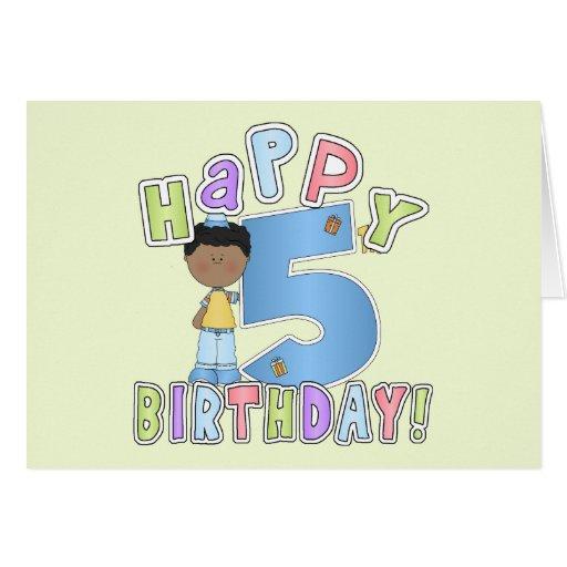 Muchachos 5to cumpleaños feliz, afroamericano felicitación