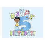 Muchachos 5to cumpleaños feliz, afroamericano tarjetas postales