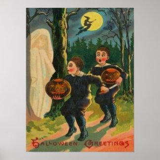 Muchachos asustados por el fantasma póster