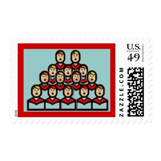 Muchachos azules del coro del navidad que cantan sellos postales