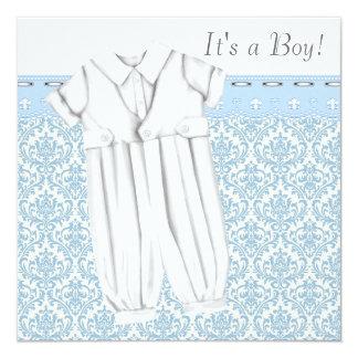 """Muchachos azules y fiesta de bienvenida al bebé invitación 5.25"""" x 5.25"""""""