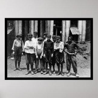 Muchachos de cristal 1911 del obrero del dominio impresiones