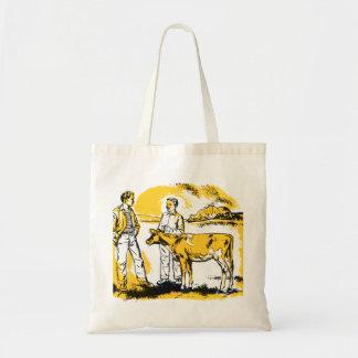 Muchachos de granja retros del kitsch del vintage  bolsa tela barata