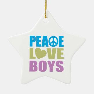 Muchachos del amor de la paz adorno navideño de cerámica en forma de estrella