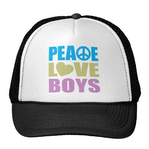 Muchachos del amor de la paz gorros bordados