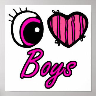 Muchachos del amor del corazón I del ojo de Emo Posters
