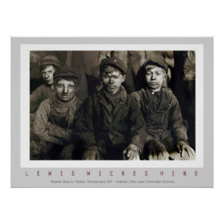 Muchachos del triturador de Lewis Wickes Hine Poster