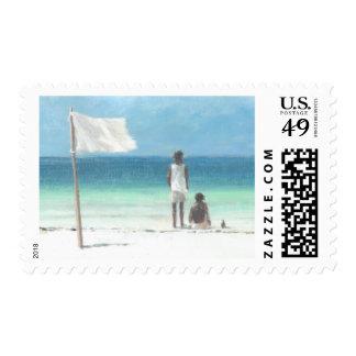 Muchachos en la playa Kenia Sello Postal