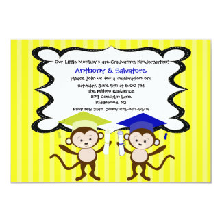 """Muchachos gemelos Monkeying alrededor la Invitación 5"""" X 7"""""""