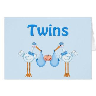 Muchachos gemelos tarjeta de felicitación