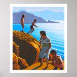 Muchachos griegos en las rocas posters