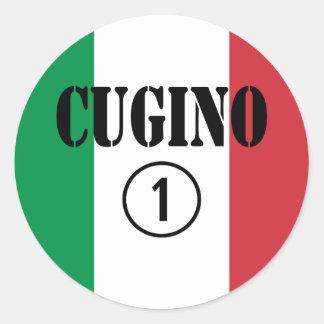 Muchachos italianos de los primos: Uno de Cugino Pegatina Redonda