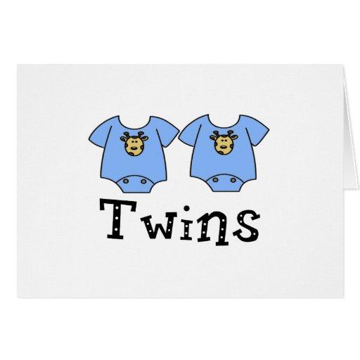 Muchachos lindos del mono 2 de los gemelos felicitacion