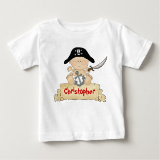 Muchachos lindos personalizados del pirata del playera de bebé