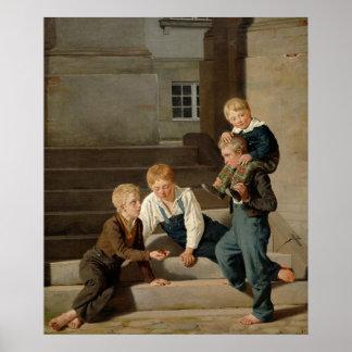 Muchachos que juegan dados delante de Christiansbo Póster