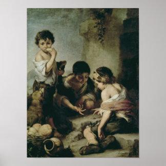 Muchachos que juegan los dados, c.1670-75 póster